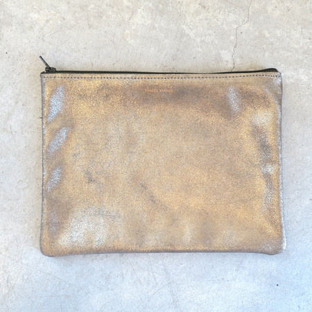 Tracey Tanner Large Flat Zip Pouch in Moss Sparkle