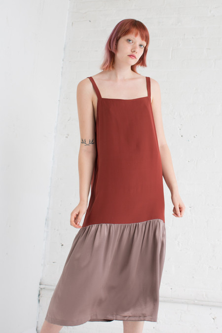 Delfina Balda Silk Drop Waist Dress in Maroon/Mauve