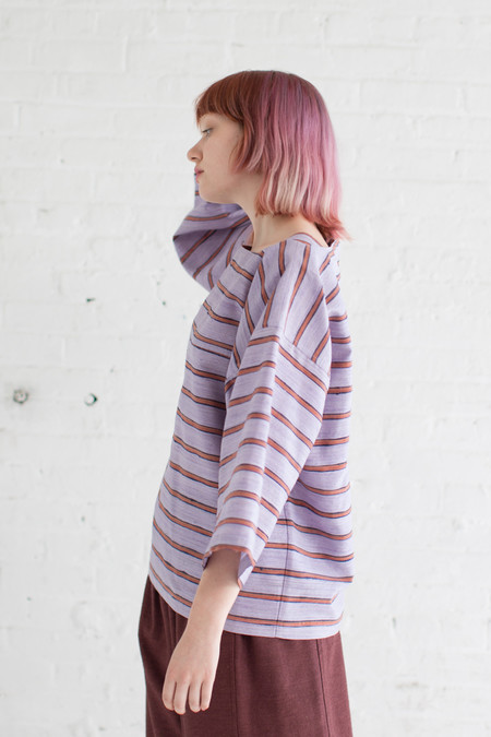 Unisex Electric Feathers Boat Top in Lavender/Rust Stripe
