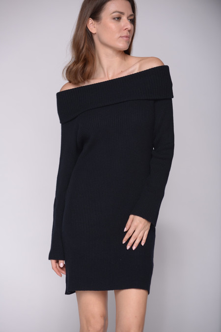 Ryan Roche Off Shoulder Dress in Black