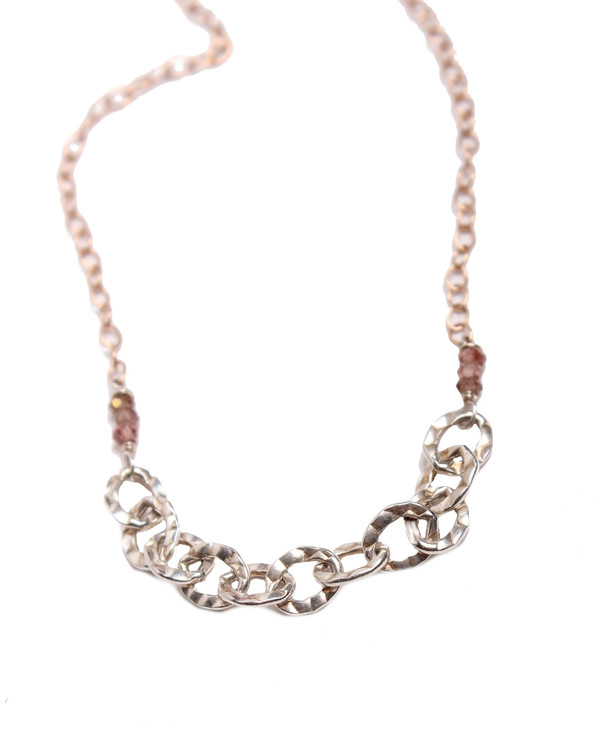 Sarah Dunn Rose Gold Chain with Silver Links Necklace