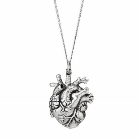 Justine Brooks Anatomical Heart Necklace Silver Small