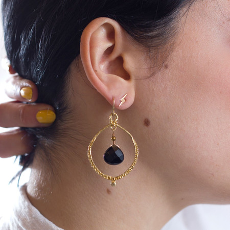Sarah De Gasperis Brass Circle and Stone Drop Earrings