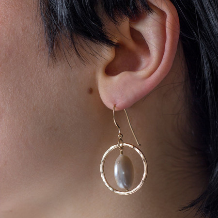 Mikel Grant Jewellery 'Yellow Gold Coin Pearl Earrings'