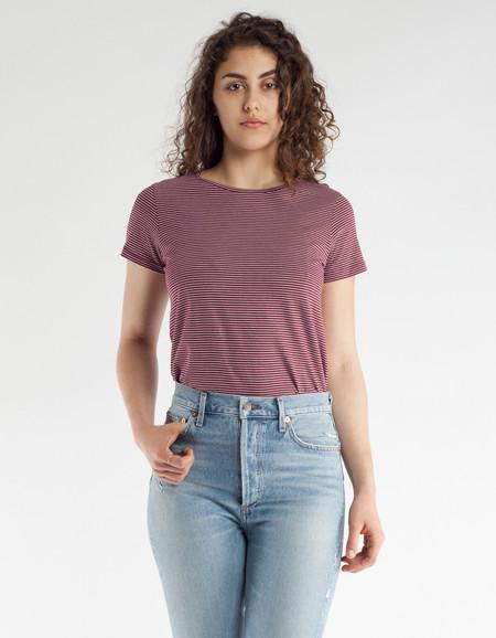 Filippa K Organic Cotton Stripe T-Shirt Mulberry Off White Stripe