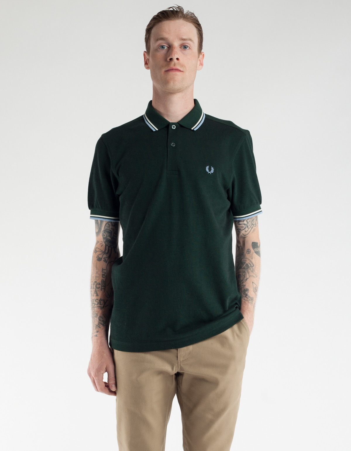 Fred Perry Slim Fit Twin Tipped Polo Black Oxford Snow ...
