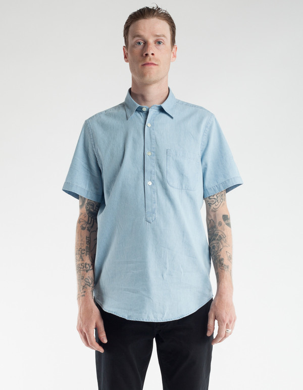 Portuguese Flannel Caue Short Sleeve Shirt Light Blue