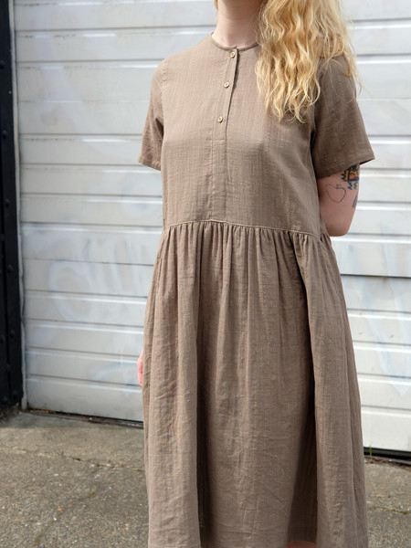 Wrk-Shp Button Dress In Khaki Cotton Gauze