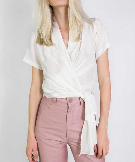 Wray White Silk Wrap Top