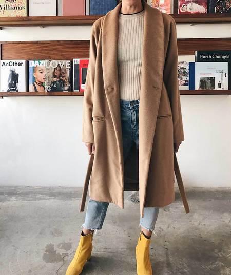 Ryan Roche Long Coat with Pockets - Camel