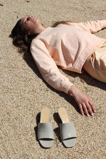 Maryam Nassir Zadeh MNZ Sophie Slide Camel Patent Leather