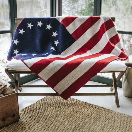 Animal Traffic 1776 Betsy Ross Flag Wool Throw