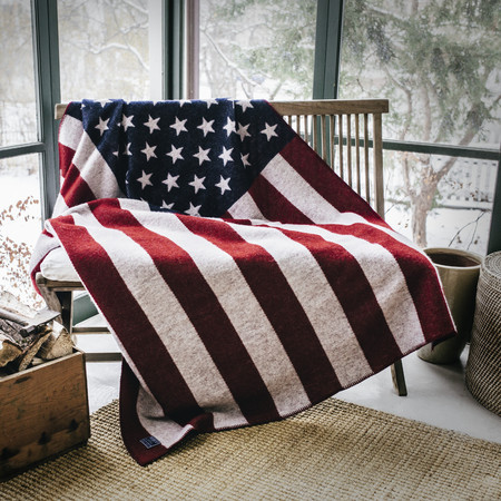 Faribault American Flag Wool Throw