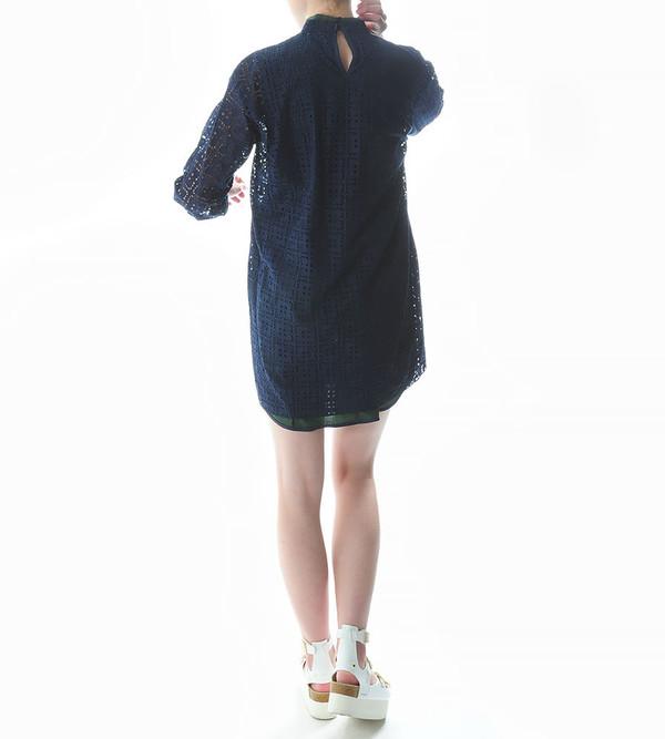 Sacai Luck Lasercut Combination Dress with Collar