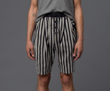 THADDEUS O'NEIL - Striped Beach Short -­ Navy Stripe