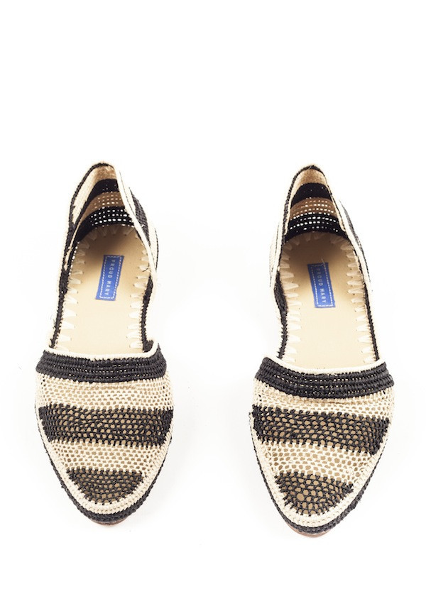 Proud Mary - Black Striped Crochet D'Orsay