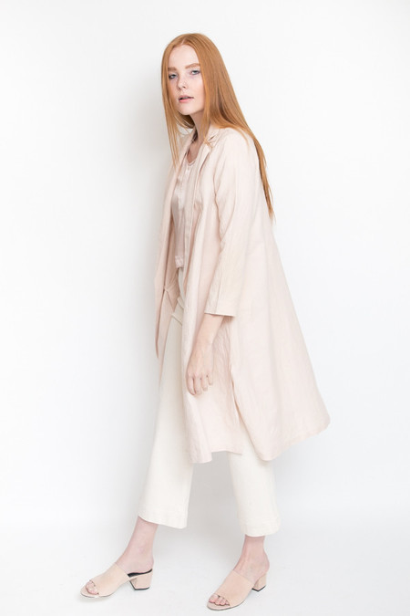 Ali Golden Linen Notch Jacket / Blush