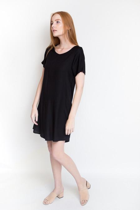 Ali Golden Woven T-Shirt Dress - Black