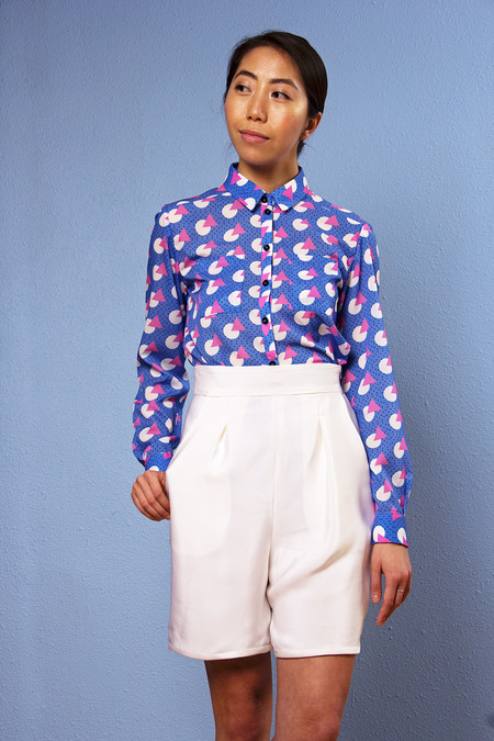 "One Imaginary Girl ""Sam"" Geo Printed Classic Blouse"