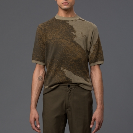 DDUGOFF - Kyle Collage Short Sleeve Sweater - Drab