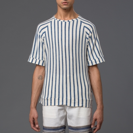 PALMIERS DU MAL - Japanese Striped Cotton Raglan Sweatshirt - Blue Stripe