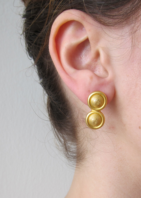 Gold round drop earrings