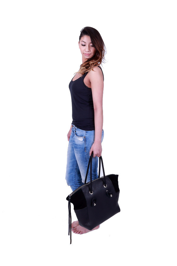 Winged Leather Tote