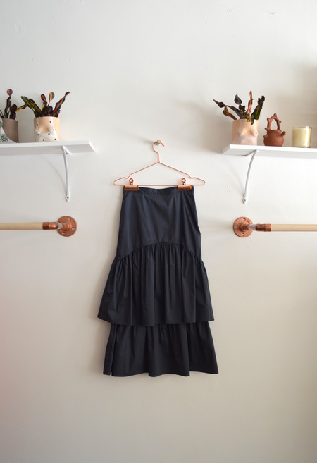 Maryam Nassir Zadeh Navy Cala Two Tier Skirt