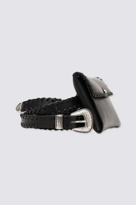 CMMN SWDN Canyon Elongated Leather Belt Black