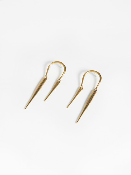 K/ller Reverse Horseshoe Earrings w/ Spike Drops