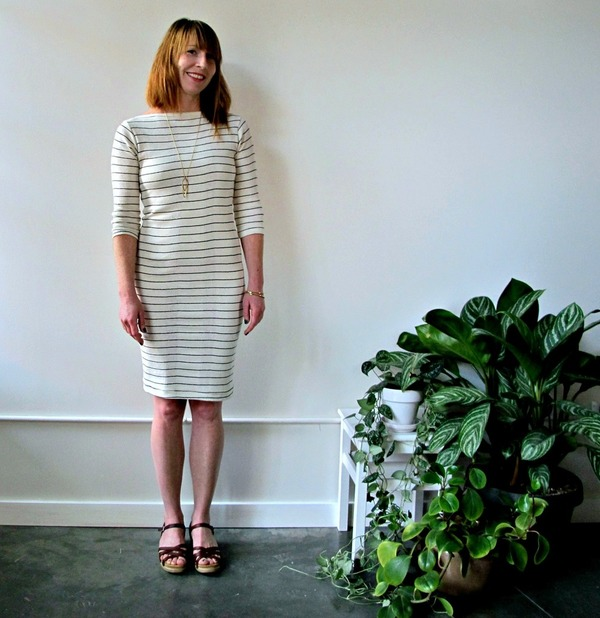 Curator Jude Dress | White/Thin Black Line