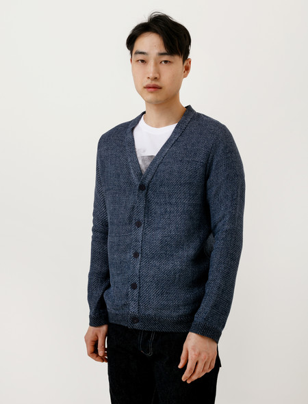 Frank Leder Mens Linen/Cotton Cardigan Diagonal Knit