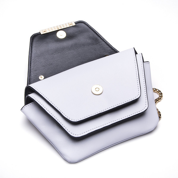 Ellia Wang Geometry Layer Clutch in White Leather