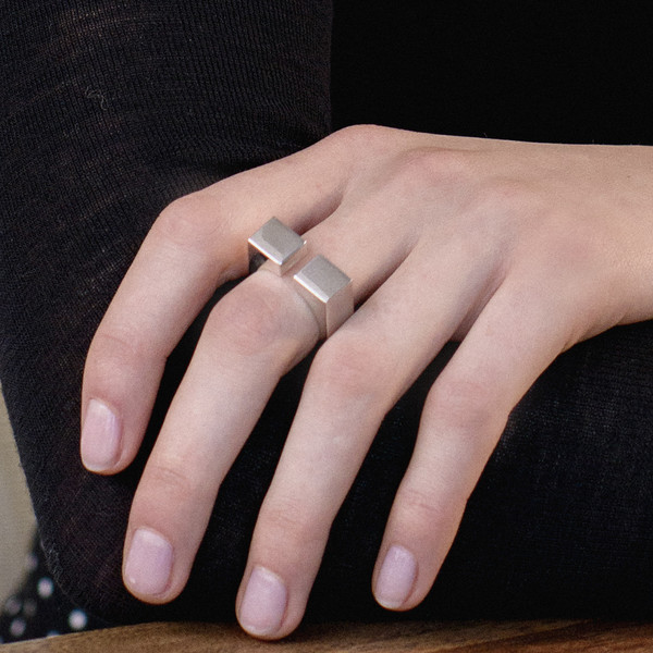 AGMES Wide Open Block Ring