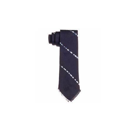 Post-Imperial Wide Pencil Striped Tie - Indigo