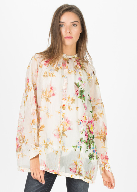 Pero Beaded Button-Up Floral Blouse