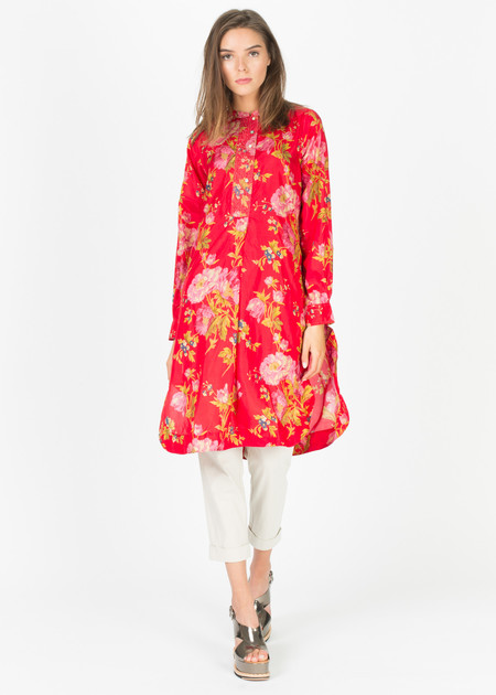 Pero Half-Button Silk Shirtdress