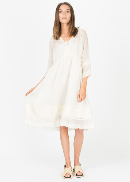 Pero Sheer Lace-Trim Dress with Slip