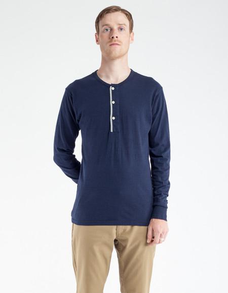 Homespun Knitwear Standard Henley LS Navy