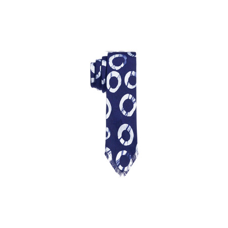 Post-Imperial Circle Pattern Tie - Indigo