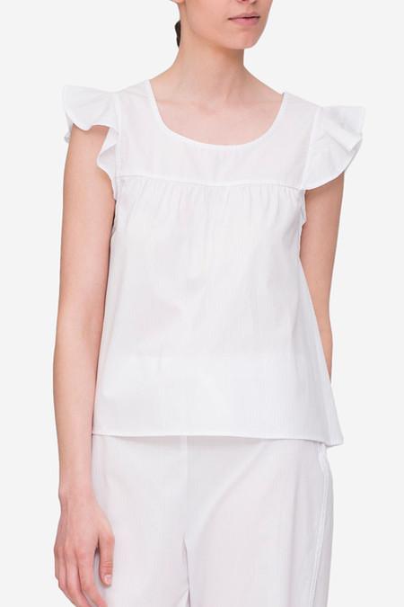 The Sleep Shirt Flounce Top White Cotton Stripe