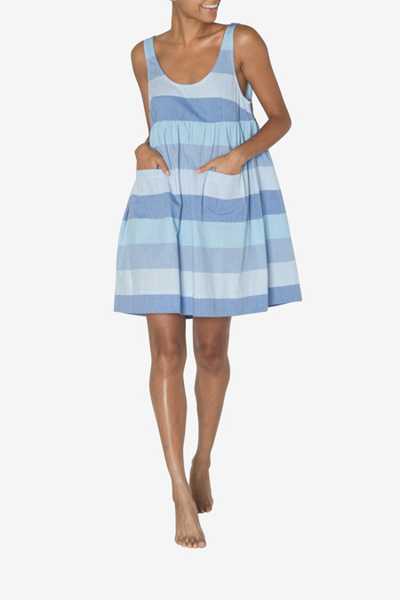 The Sleep Shirt Pocket Nightie Blue Montauk