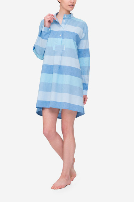 The Sleep Shirt Short Sleep Shirt Blue Montauk