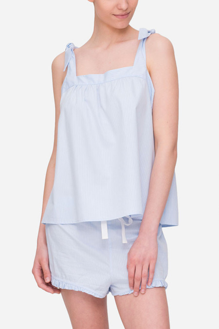 The Sleep Shirt Tie Top - Blue Cotton Stripe
