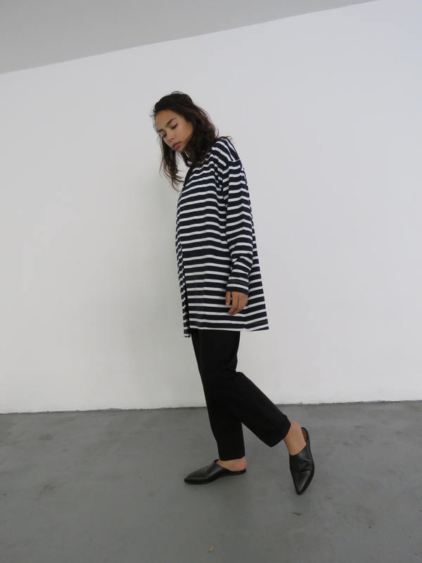 KOWTOW NOVA CARDIGAN - NAVY & WHITE STRIPE
