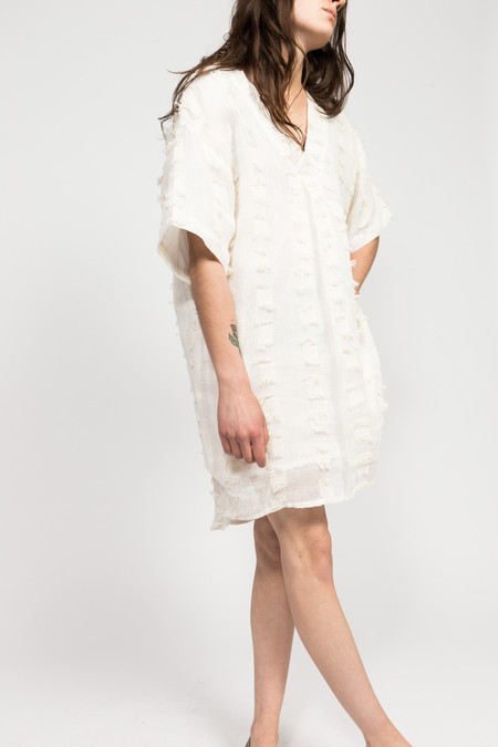 7115 by Szeki Fringe V-Neck Dress