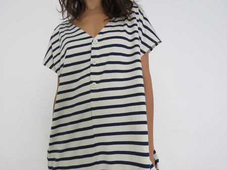 KOWTOW SPARE TIME DRESS - NAVY & NATURAL STRIPE