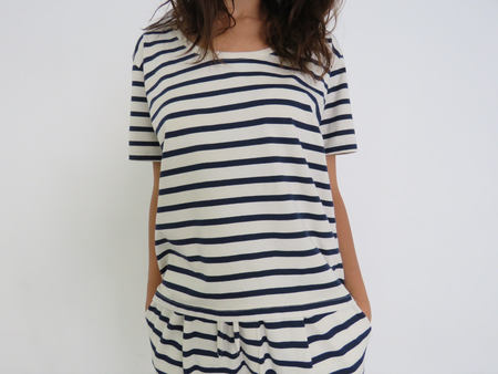 KOWTOW BUILDING BLOCK SCOOP TEE - NAVY & NATURAL STRIPE