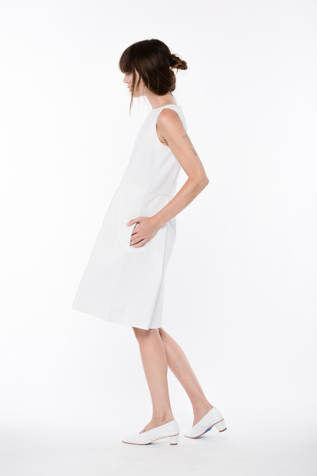 Wolcott : Takemoto Denim Bushi Dress in white