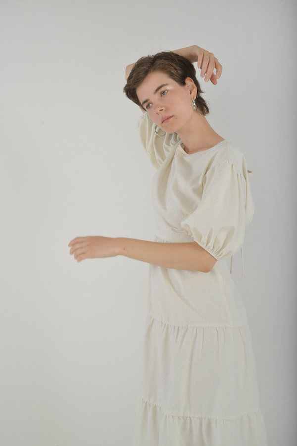 Town Clothes Quince Dress in Ginger Silk Noil